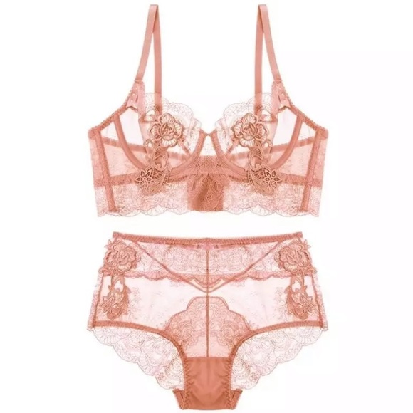 42d2d35cfe36c4 Sheer transparent lace wire bralette and panty set